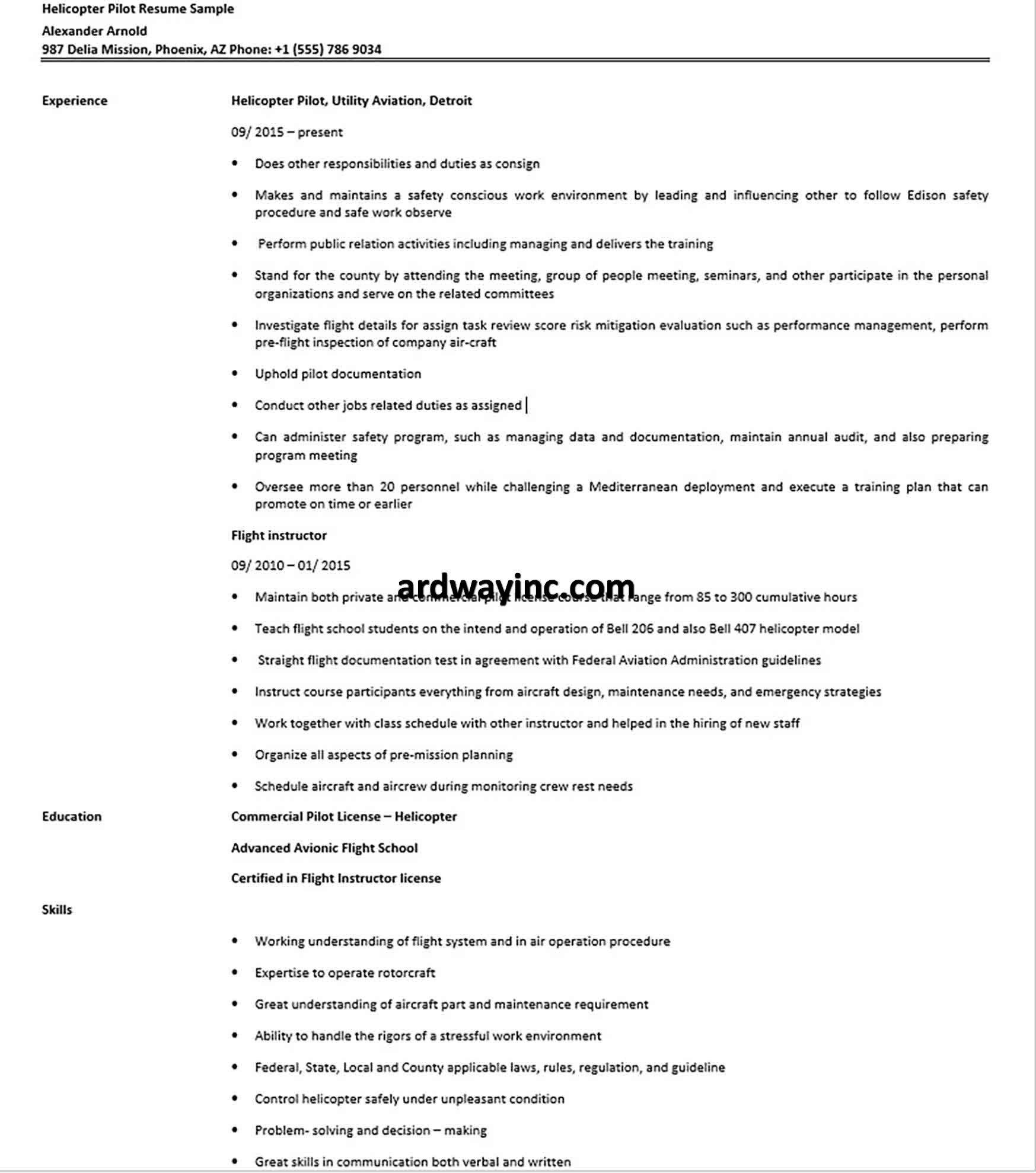 Helicopter Pilot Resume Sample Helicopter Pilots Helicopter Pilot
