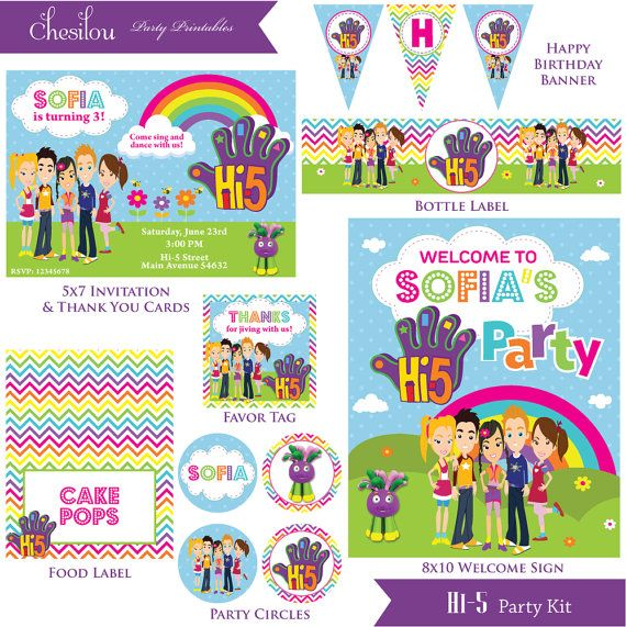 Customized Hi 5 Digital Printable Birthday Invitation By Chesilou