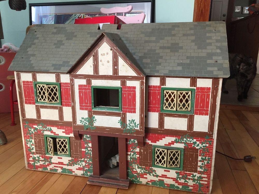 Antique Doll House 1947 Keystone Boston Tudor Vintage Wooden