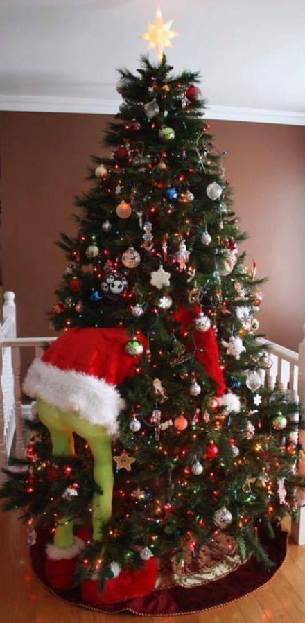 "GRINCH CHRISTMAS TREE – ""Made from two dowels for his legs, blocks of wood - GRINCH CHRISTMAS TREE €� €�Made From Two Dowels For His Legs, Blocks"