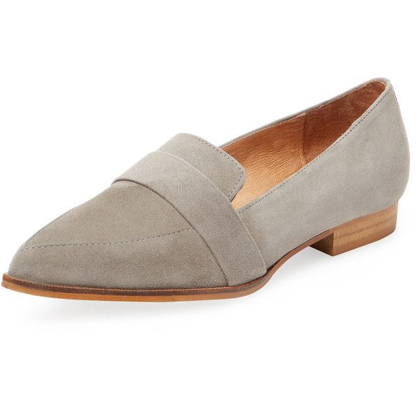 PURE NAVY Women's Yonos Pointed-Toe Loafer - Grey - Size 36 (1,705 MXN) ❤ liked on Polyvore featuring shoes, loafers, grey, navy blue shoes, navy leather shoes, grey shoes, navy blue leather loafers and leather shoes