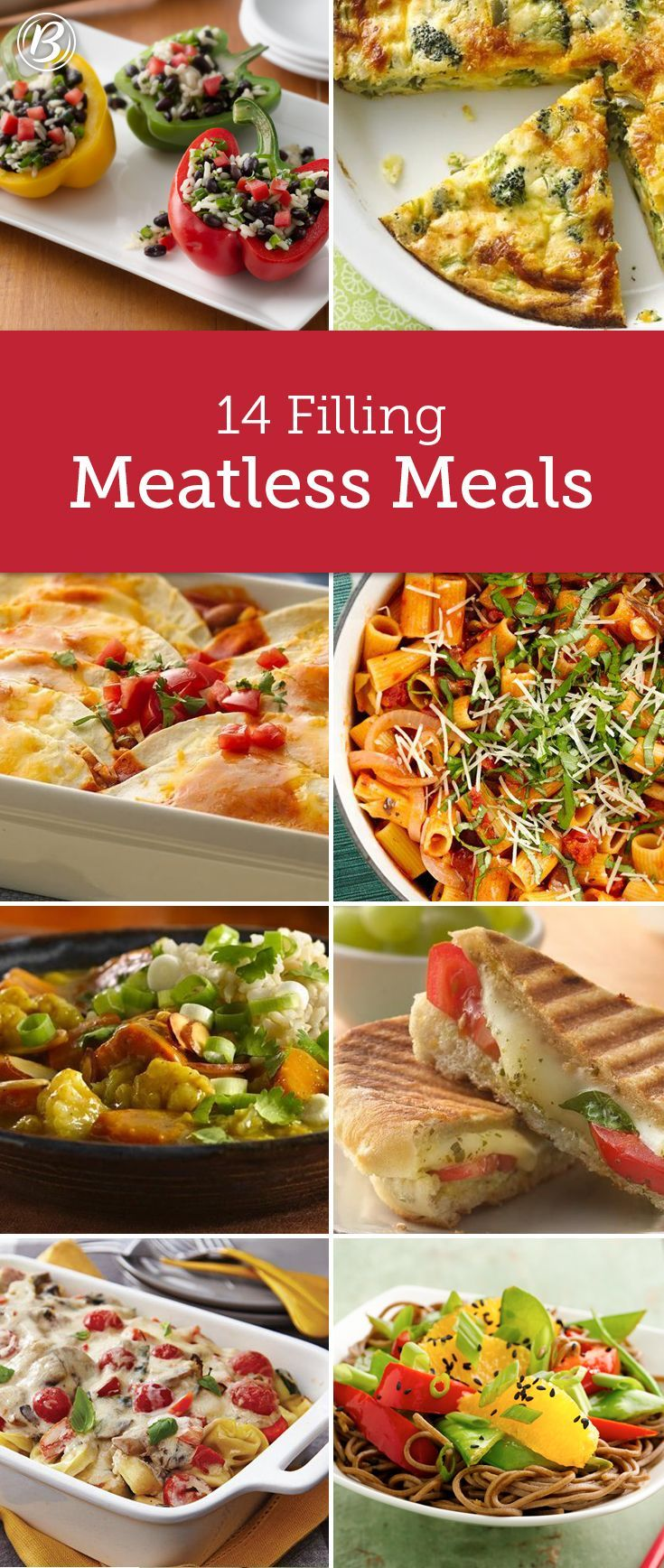 14 Filling Meatless Meal Ideas Meat Free Recipes Meals Without Meat Vegetarian Vegan Recipes