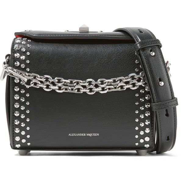Alexander Mcqueen Box Bag 19 Studded Leather Shoulder 2 090 Liked On Polyvore