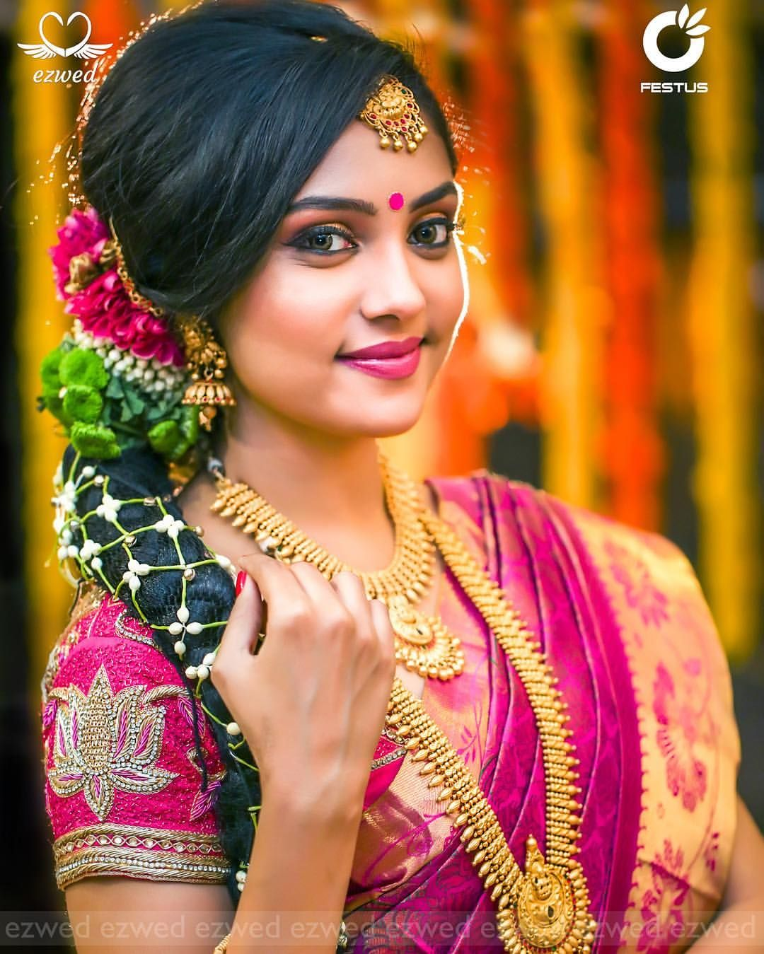 Wedding Hairstyle In Tamil: South Indian Bride. Gold Indian Bridal Jewelry.Temple