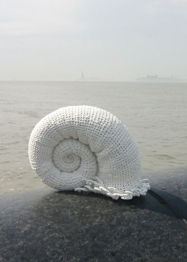 Cephalopod and my other plastic bag crochet sea creatures made the long journey to New York