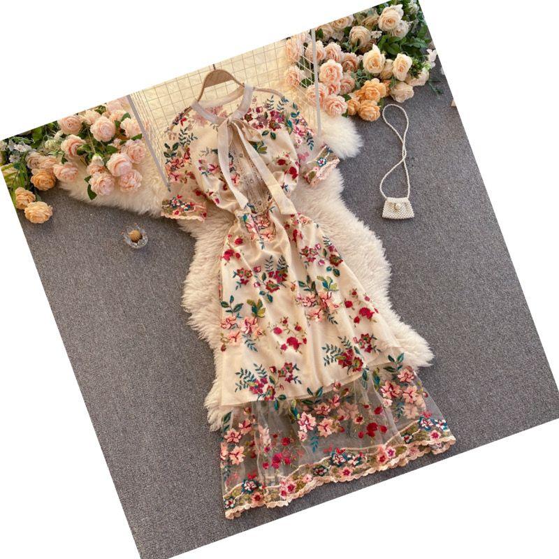 Vintage dress Aesthetic Cottagecore Clothing  Goddess dress  Floral knit Fabric