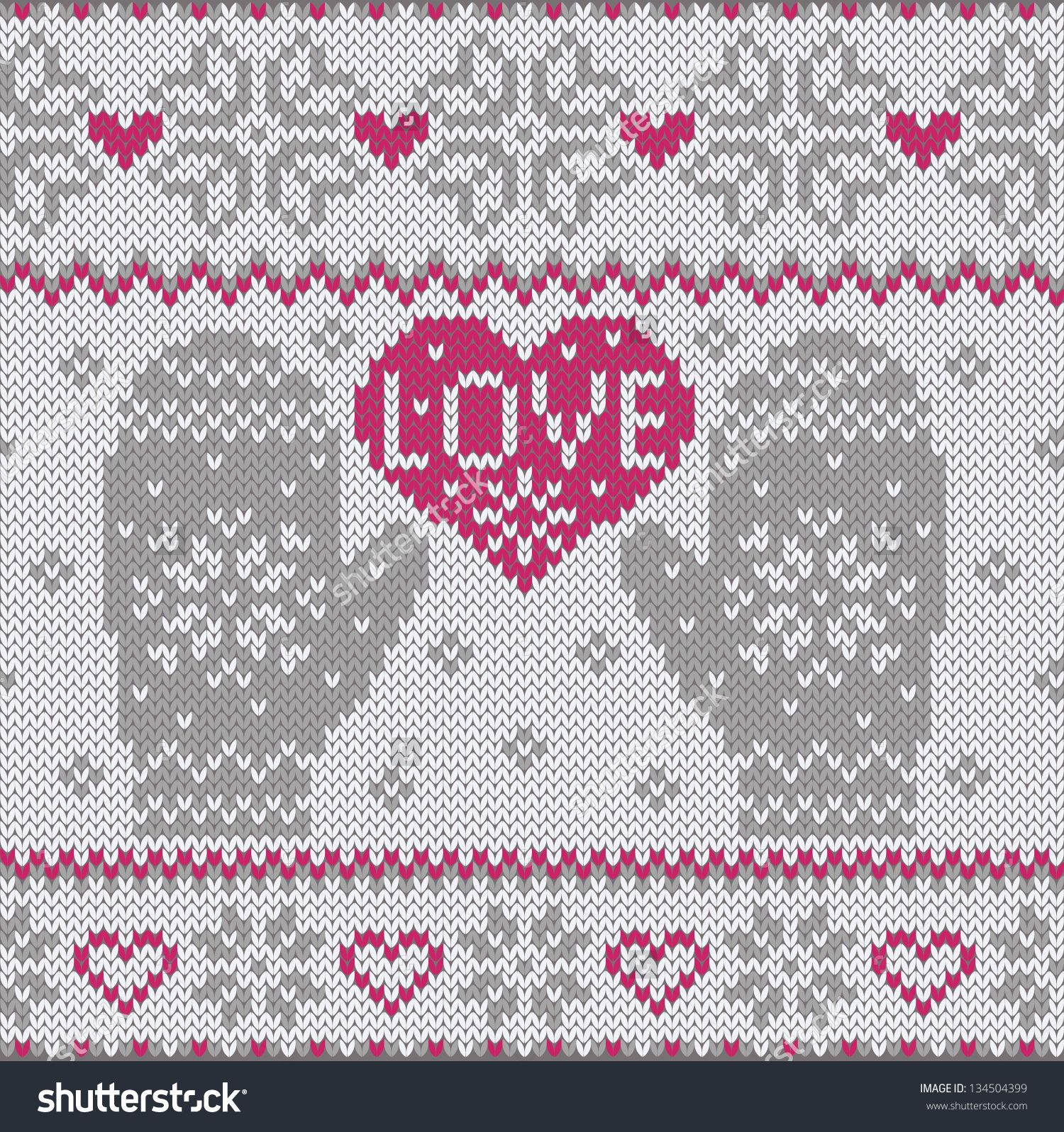 Knitted heart Love and mittens Fashionable nordic seamless pattern ...