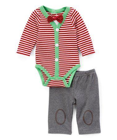 Red   White Stripe Bodysuit Set - Infant  baby  boy  bowtie  christmas   photoshoot  zulily  zulilyfinds 638032faa
