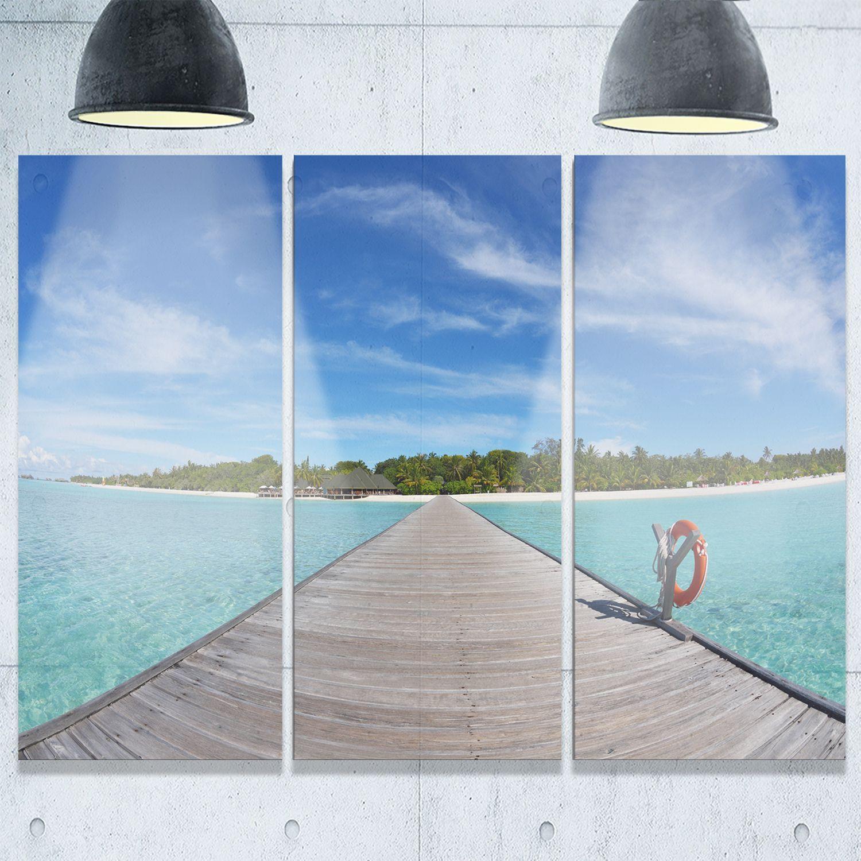 Designart wooden pier at tropical beach wooden sea bridge glossy
