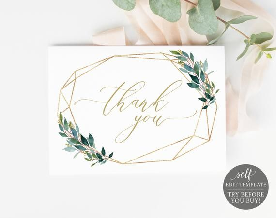 thank you card template instant download fully editable thank you