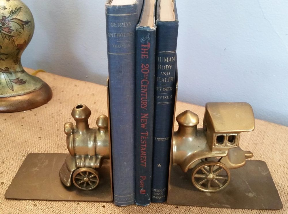 Pair of Brass Train Bookends from San Pacific