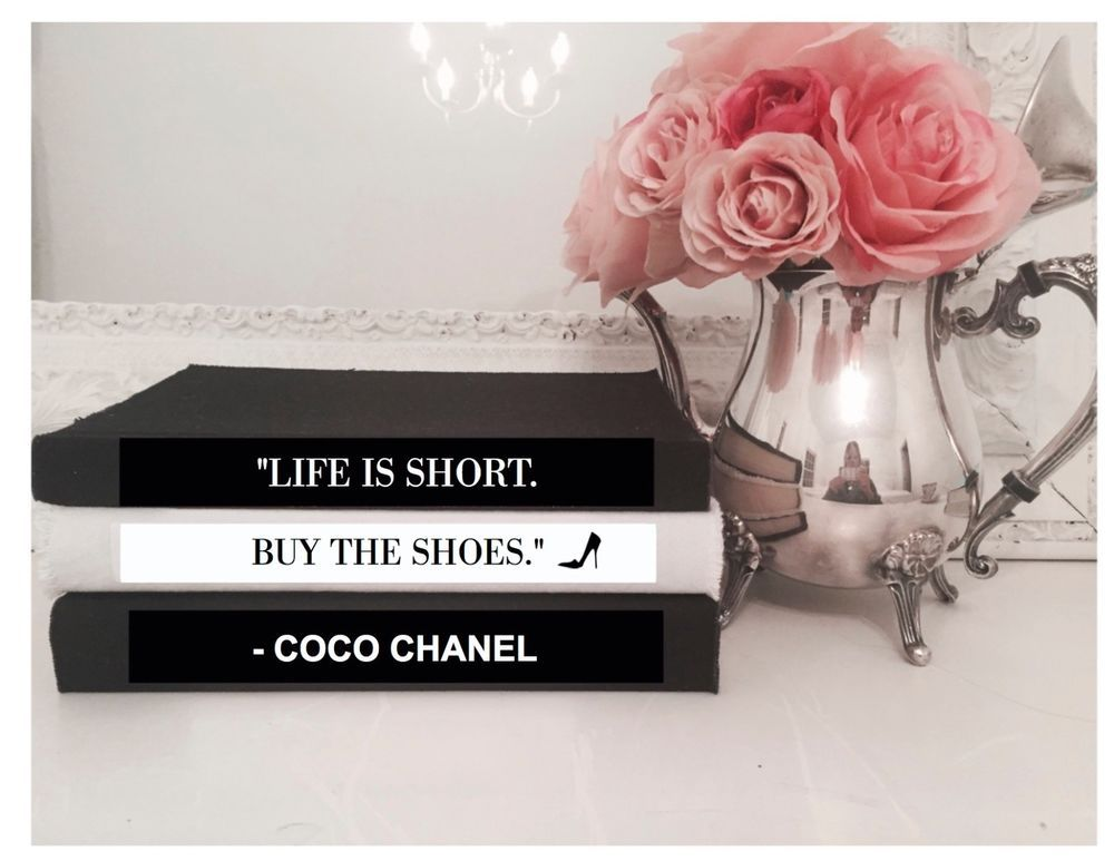 Coco chanel quote life is short the shoes coffee table book set