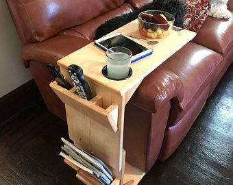 Couch Table With Remote Control Holder Tablet Magazine Rack And Cup Adjustule Height Wooden Tray Coffee