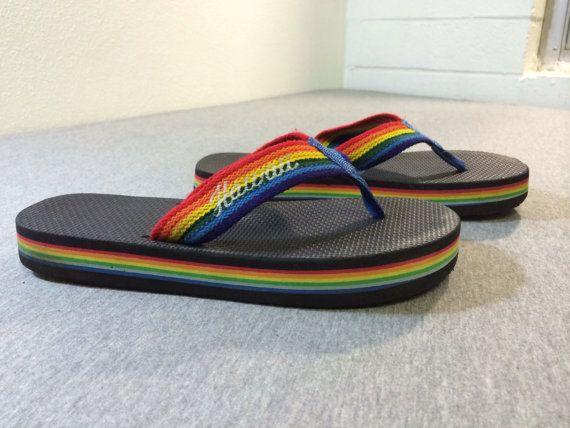 46328cc6789b 80 s FLIP FLOPS Rainbow HAWAII Thick Foam by sweetVTGtshirt ...