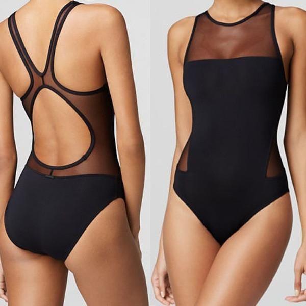 2a0c7001f7c55 ... Push Up Padded Bikini Beachwear. Black Scoop Neck Mesh Patchwork  Swimwear