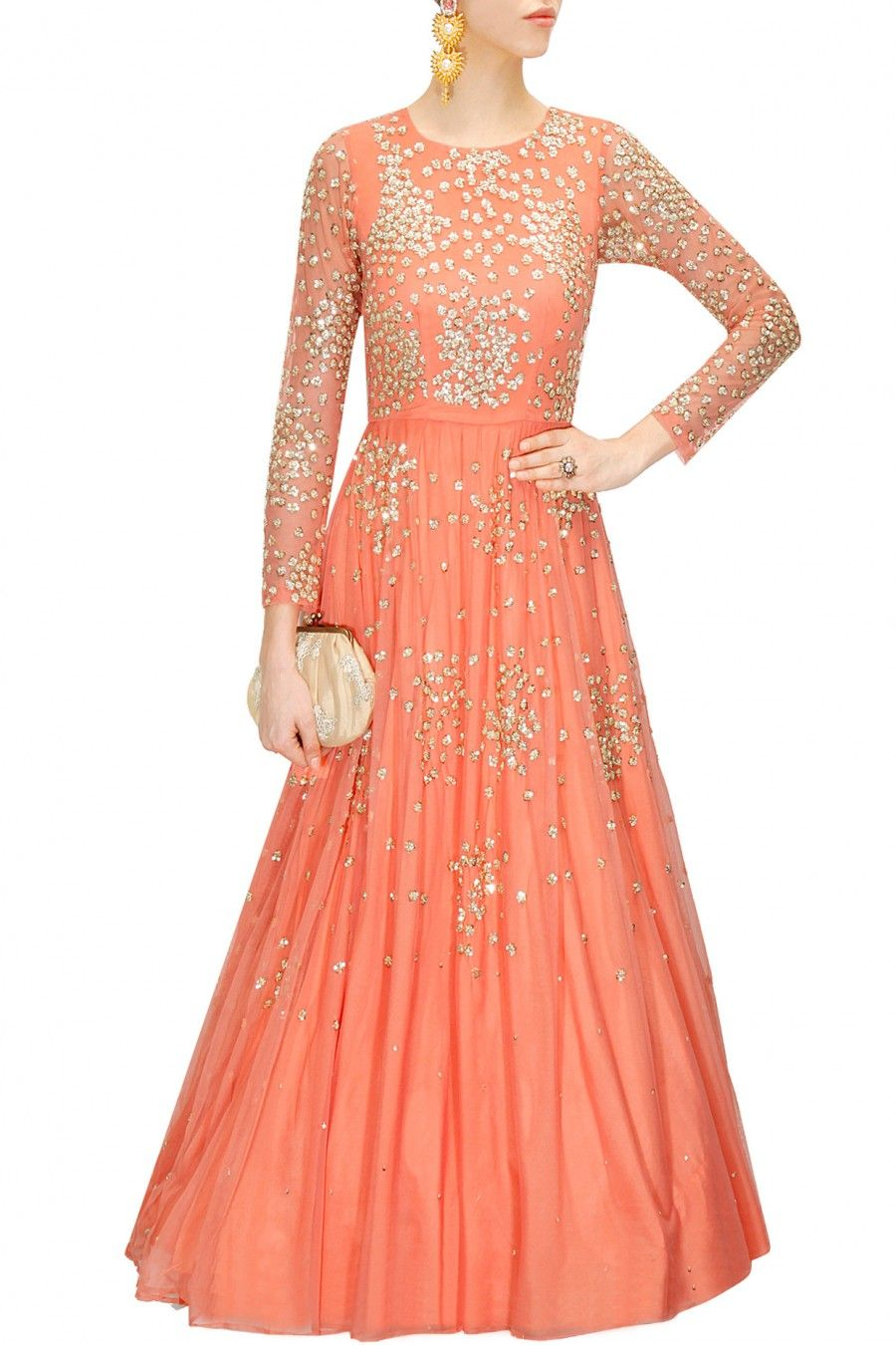 fe31b00930a9f Coral peach shimmer anarkali gown available only at Pernia's Pop-Up Shop.