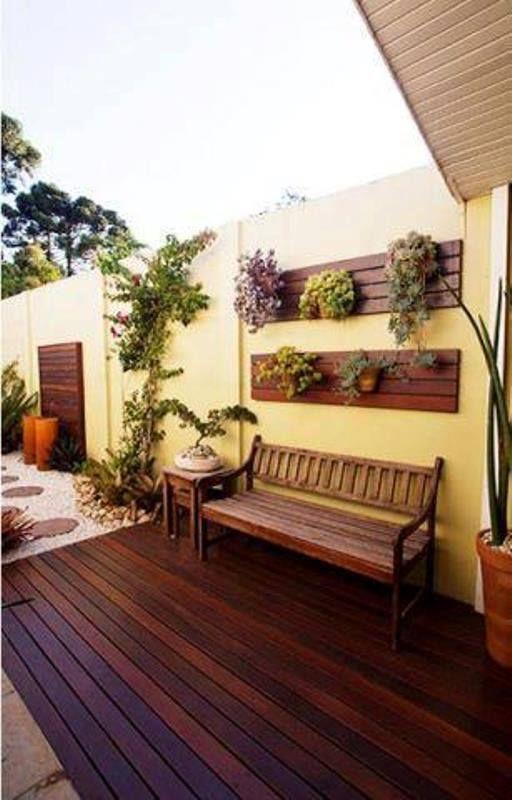 aconchegante,deck,banco,plantinhas