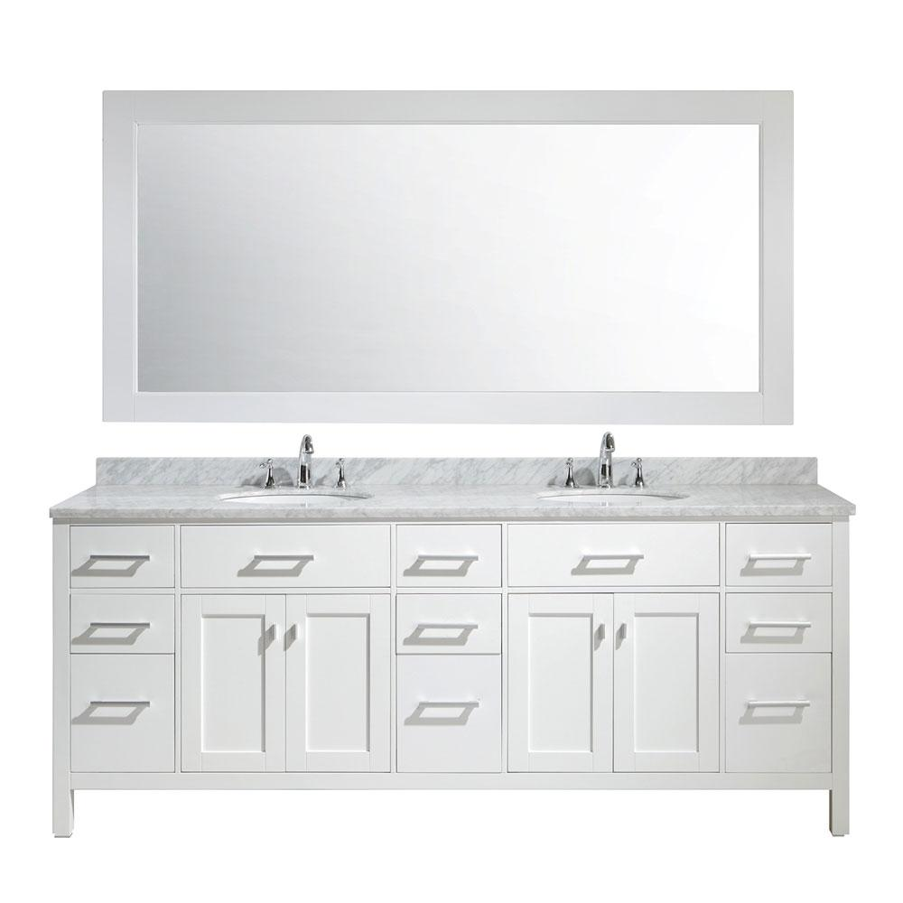 Design Element London 84 In W X 22 In D X 35 In H Vanity In White With Marble Vanity Top In Carrara White Basin Double Sink Vanity Vanity Sink Marble Vanity Tops