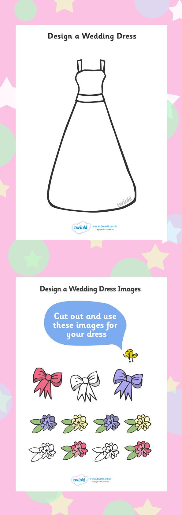 Design your wedding dress free  Design a Wedding Dress  Free download  Twinkl  Educational Tools