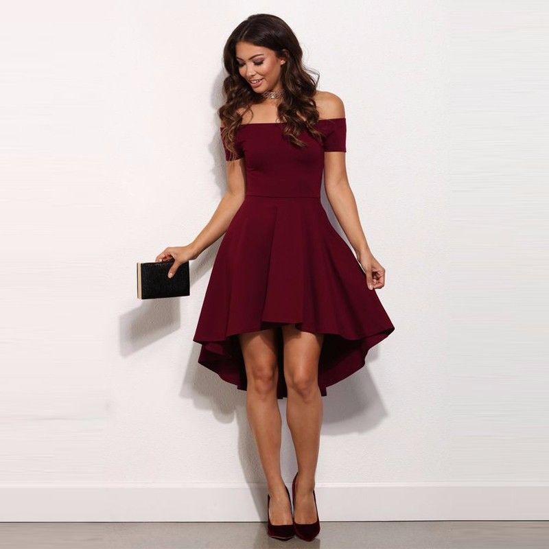 High Low Simple Style Cheap Burgundy Party Dress Sexy Off The
