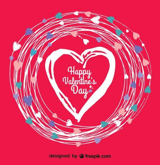 Scheda di giorno di doodle di San Valentino vettore cuore ...