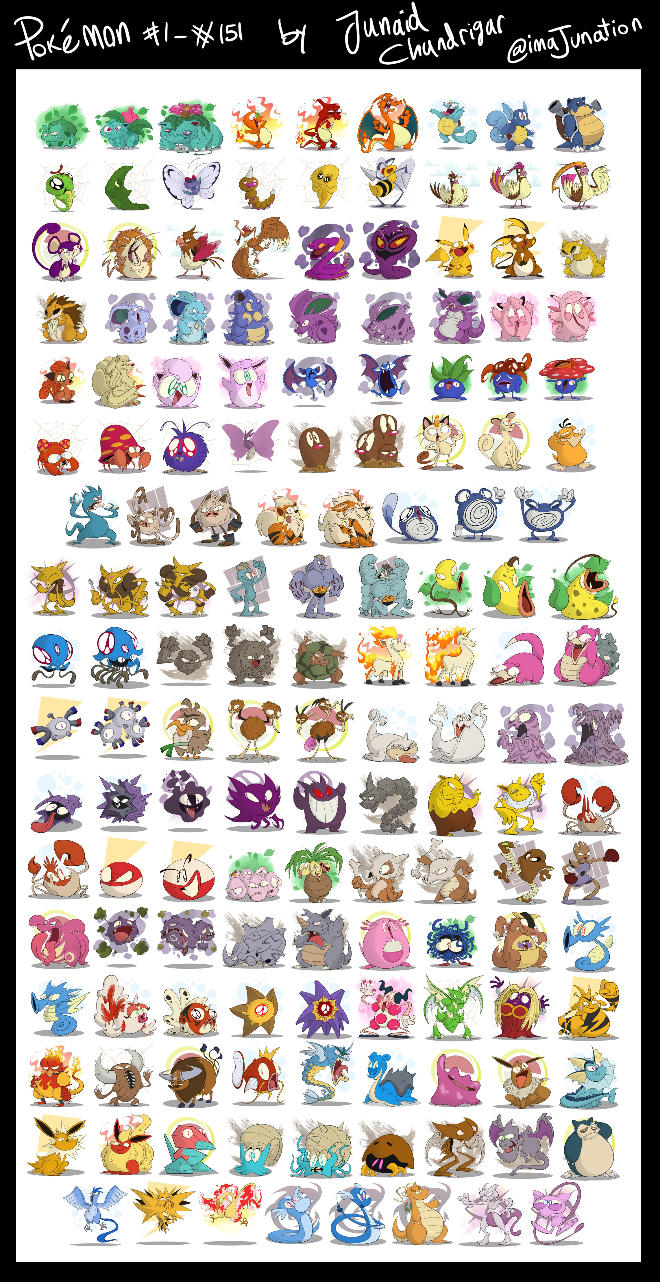 I'm drawing every Pokémon in my style. Gen 1 finished