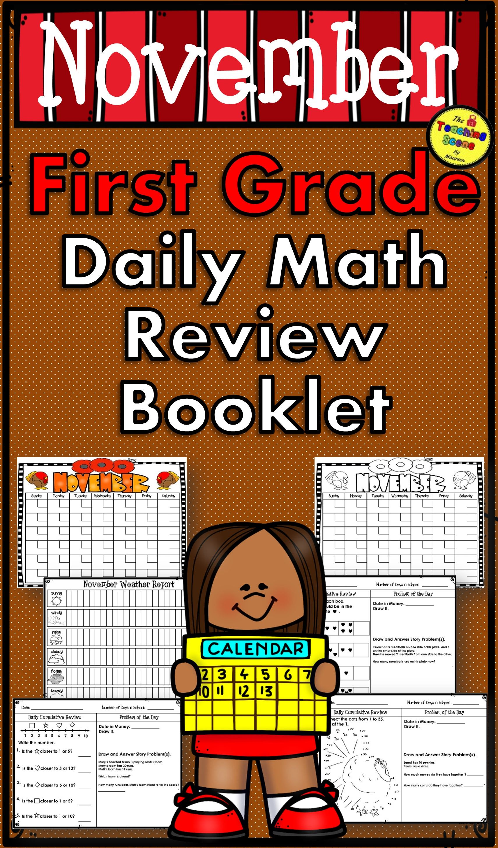 First Grade Daily Calendar Amp Math Review Booklet November