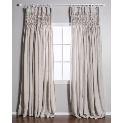Pom Pom At Home Single Solid Color Semi Sheer Pinch Pleat Curtains