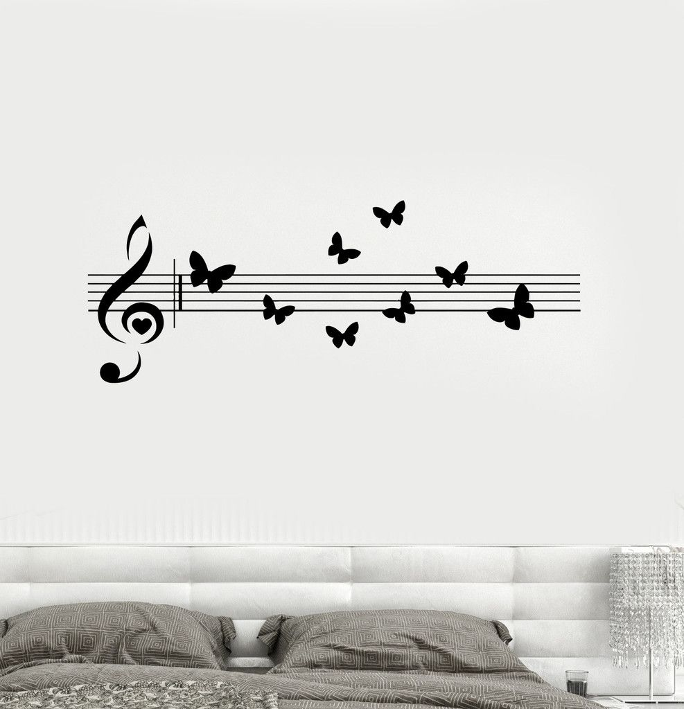 Vinyl decal music musical butterfly room decoration wall for Decoration porte sticker