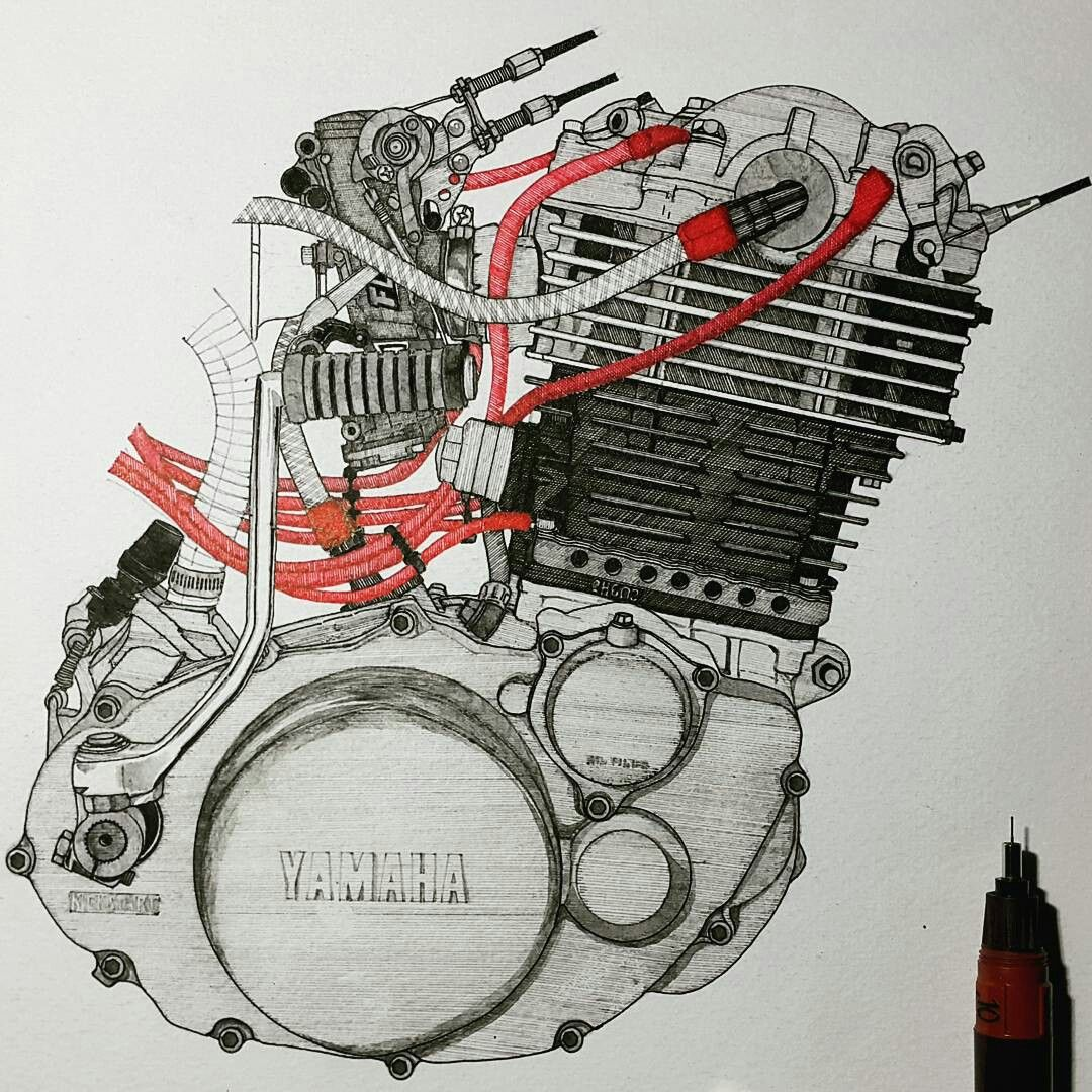 Shade and Shadow ✒✏⚡ . . #yamaha #sr400 #sr500 #fcr #bigsingle #details #engine #vintage #custom #texture #motorcycle #bike #drawing #pencil #pen #penwork #painting #artist #art #ink #black #red #handdrawn #sketch #illustration #craft #rotring #aristo #shade #shadow