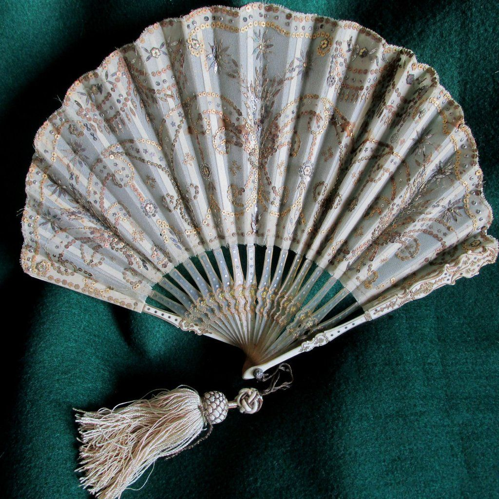 SOLD...Antique French Sequins & Silk Ladies Fan with Carved Horn Sticks, AsIs