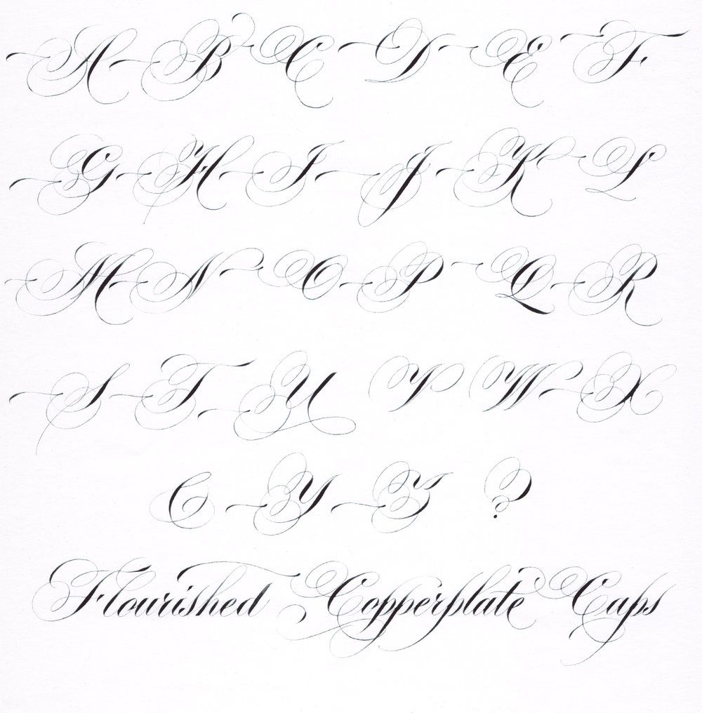 hybrid copperplate script - flourished capitals   calligraphy