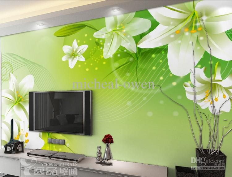 2013 New Large HD Mural Wallpaper Lilies Bedroom Living Room ...