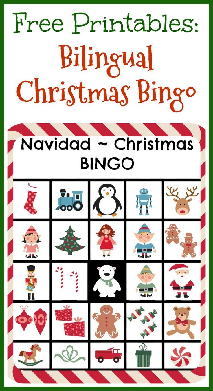 image regarding Free Printable Christmas Bingo Cards called Cost-free Printables: Bilingual Xmas Bingo Winter season Marvel