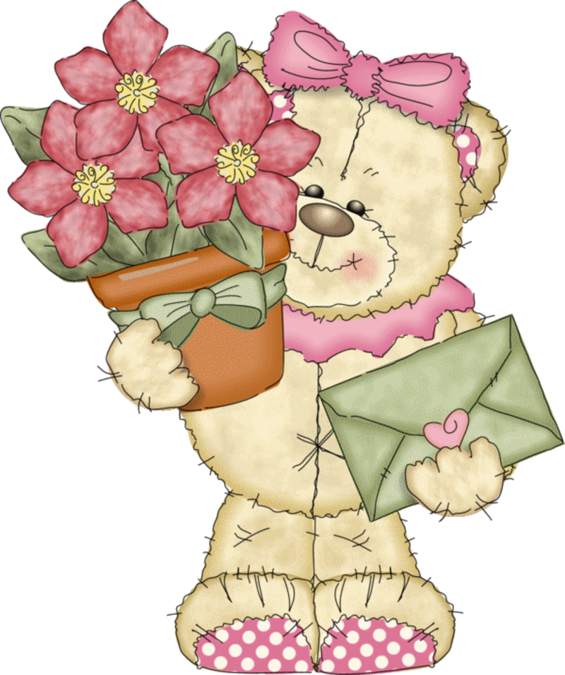 Медвежонок дарит цветы картинки