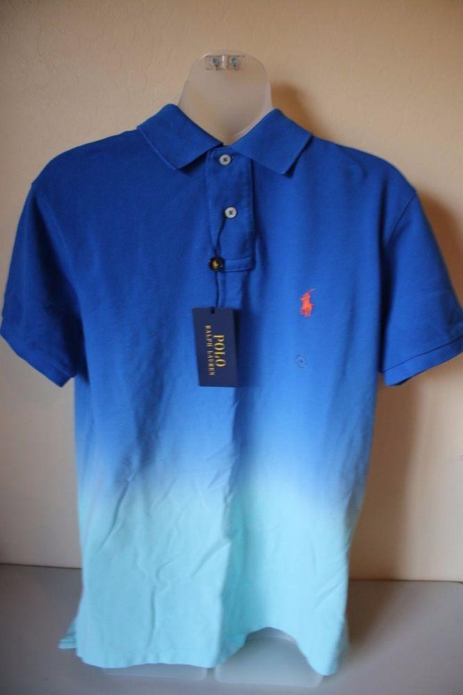 Polo Ralph Lauren Polo Shirt Sml Custom Fit Light Blue With Yellow Pony Mesh Polos