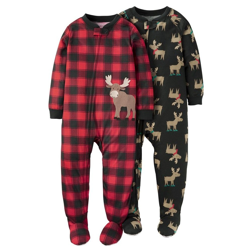 12f5ec8e85ad Baby Boys  2 Pack Moose One Piece Poly Pajamas 12M - Just One ...