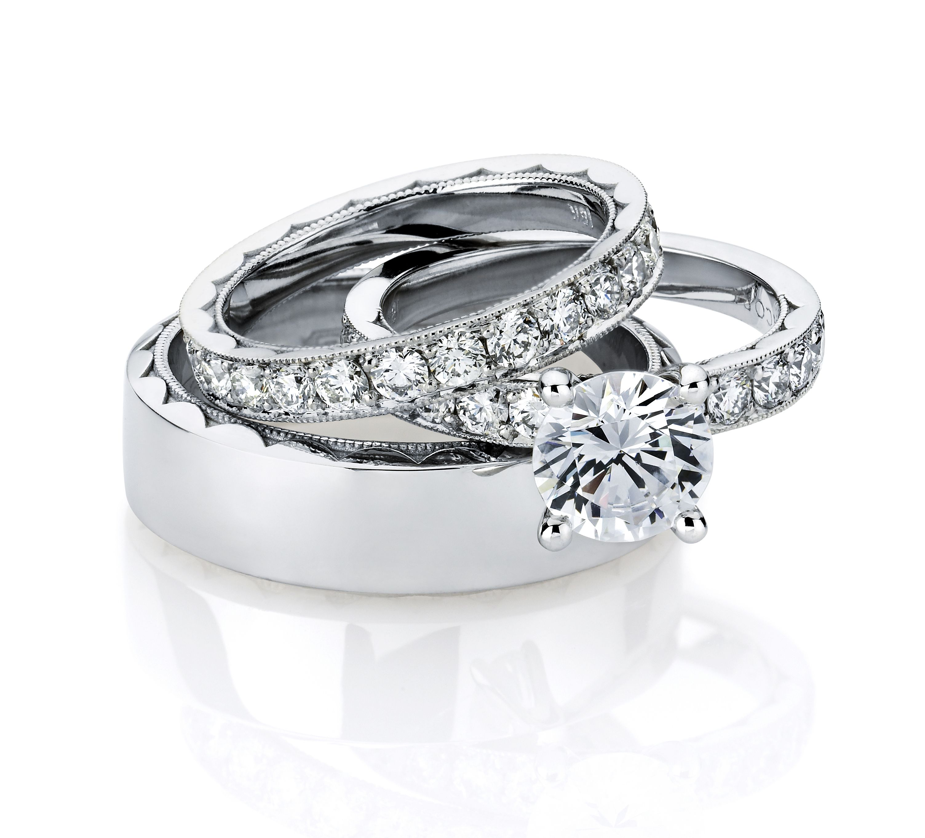 his and hers wedding band and engagement ring set by