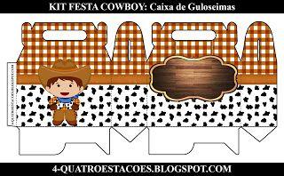 Kit Festa Infantil Gratuito para imprimir Tema Country Cowboy Caixa FAÇA  SUA FESTA NO QUATRO ESTAÇÕES cee01b30021