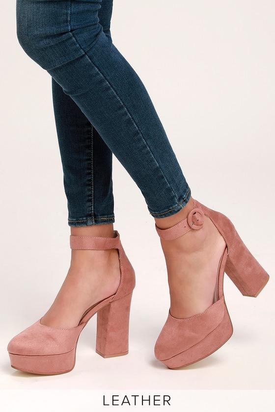 Norie Dusty Rose Suede Leather Platform Heels Heels Suede