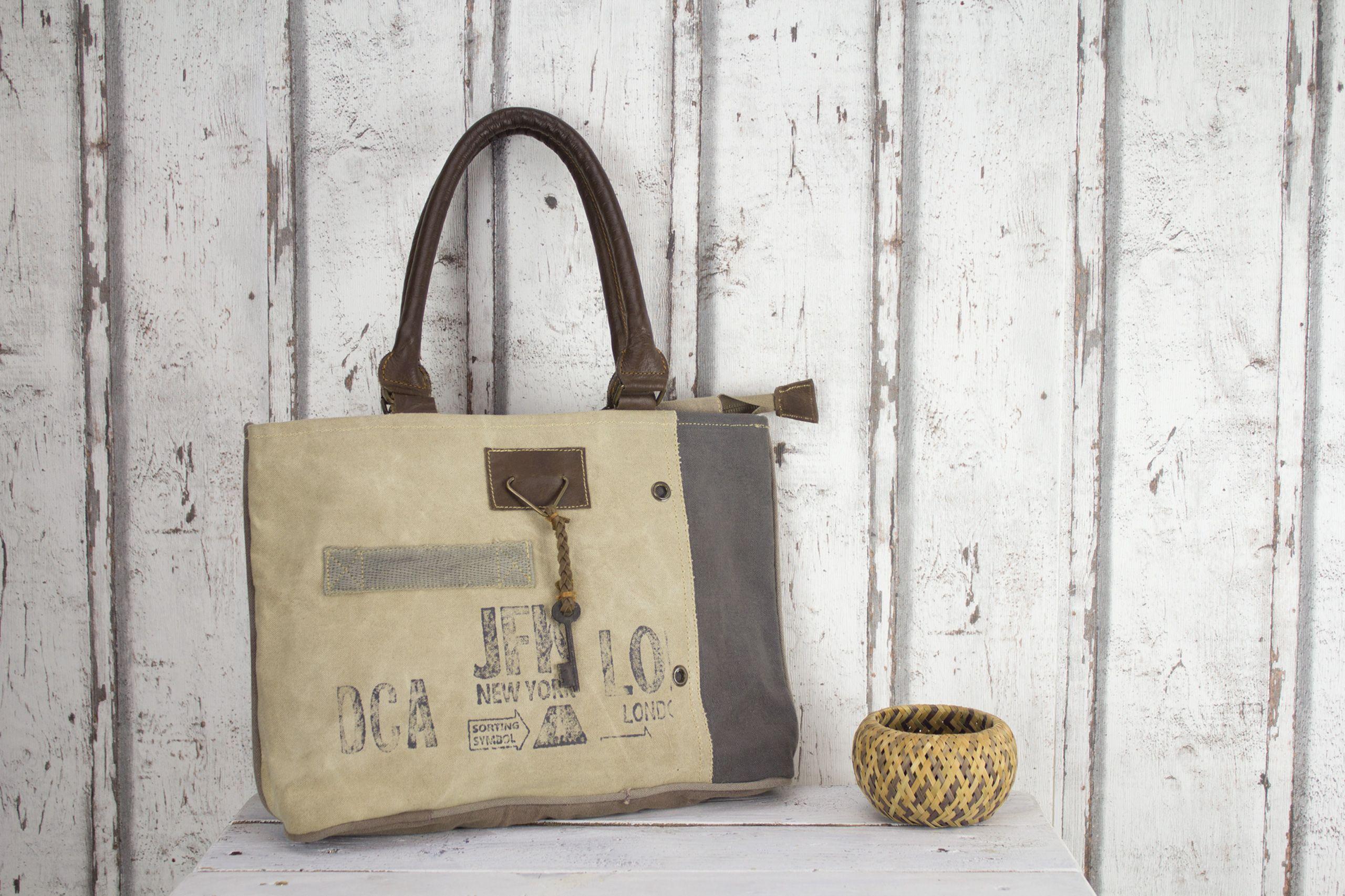 Sunsa Damen Vintage Tasche Canvas Leder Handtasche