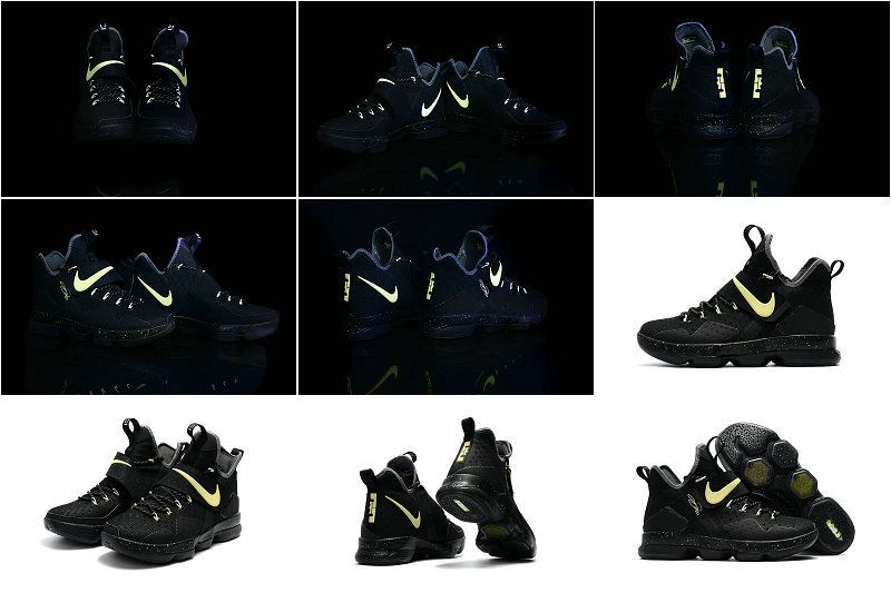 size 40 c66d9 ac39f New Arrival 2017 Nike LeBron 14 XIV Black Gold Glow In The Dark