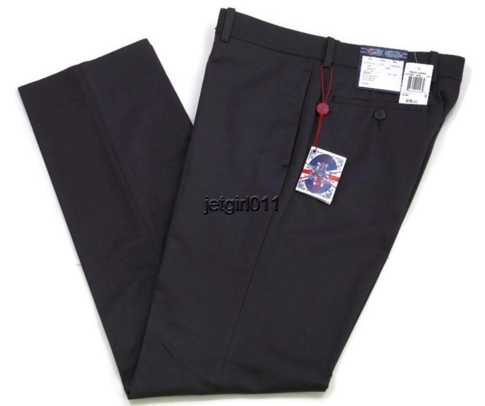 Mens English Laundry Flat Front Dress Slacks Pants Gray 30x32