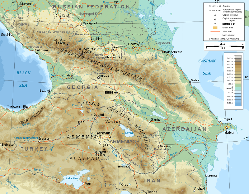 Caucasus Topographic Map Russia Georgia Armenia And Azerbaijan