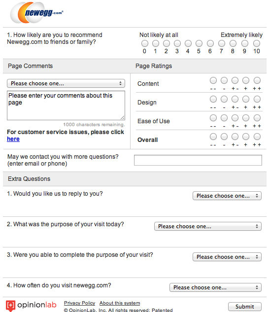 NewEggs comment card is a rockstar example for all eTailers – Customer Comment Card Template