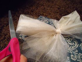 Cute and easy tulle gift wrap ...