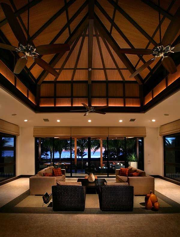 Small Tropical Home Designs Fascinating Tropical House Interior With High Ceilings Design Tropical Living Room High Ceiling Living Room Tropical Living #tropical #living #room #decorations