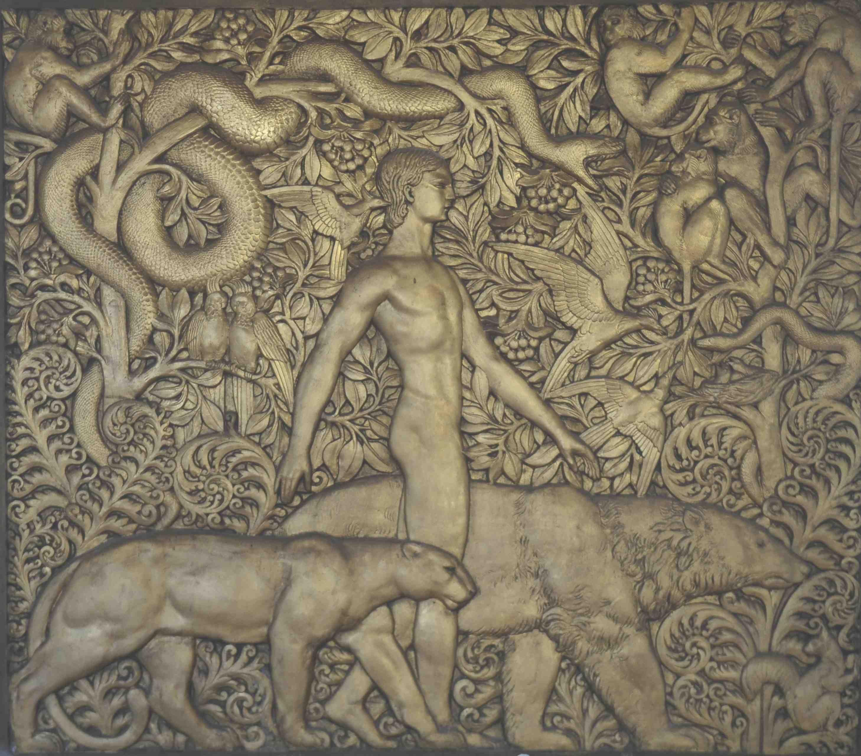 Bas-relief Mowgli, Le Livre de le Jungle (1927) Raymond Delamarre ...