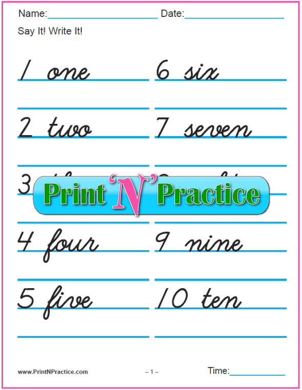 Cursive Number Writing Worksheets: 1-100 with words. | ✨Printable ...