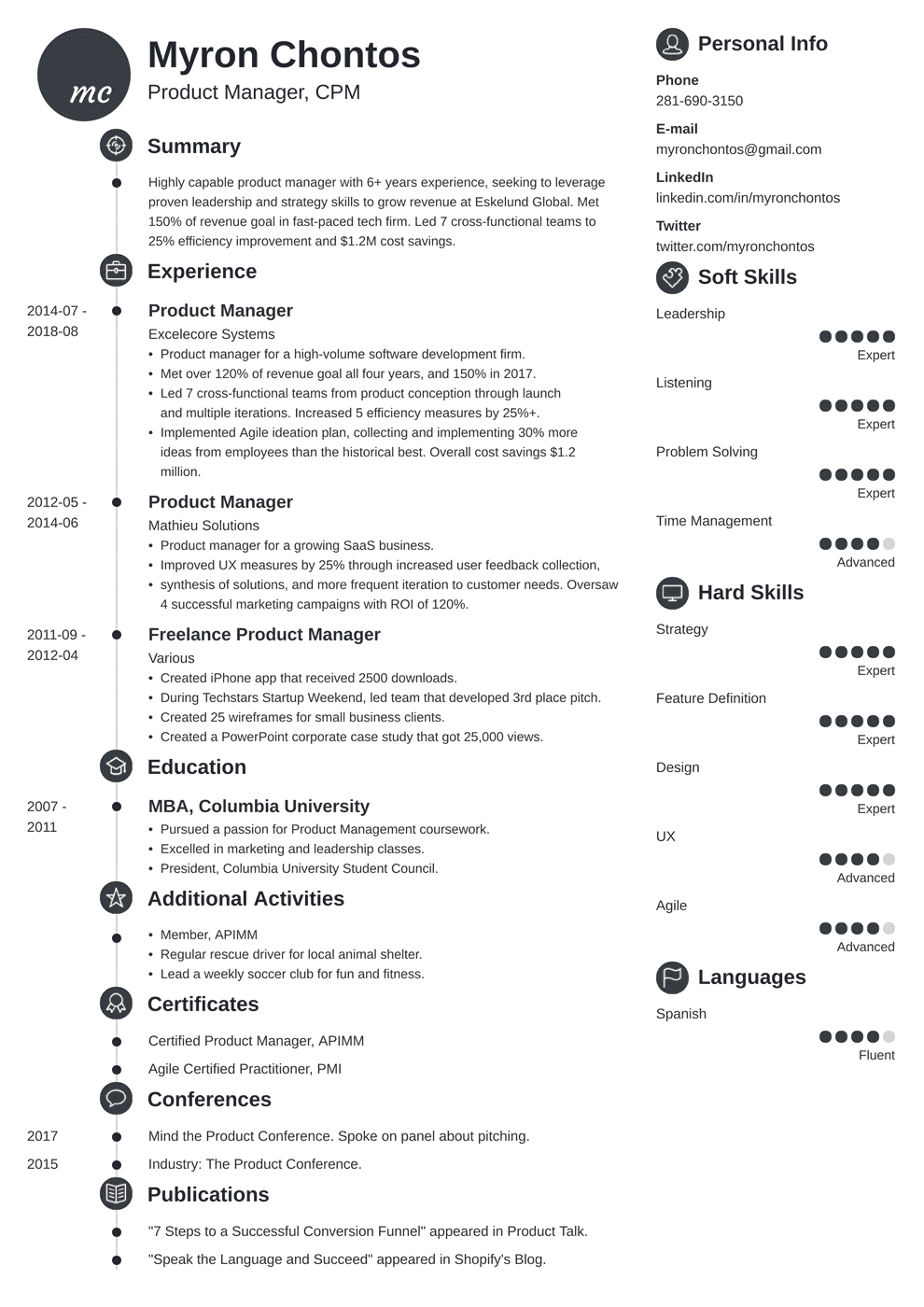product manager resume template primo in 2020 Manager